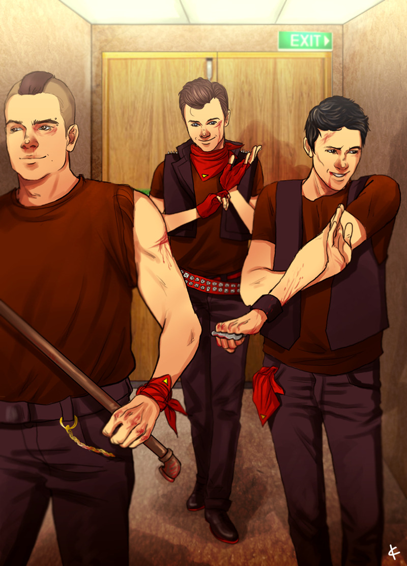 The Glee fellas breaking bad.  Anybody know who the artist is?  Reveal yourself. Update: apparently the artist is NinaKask. Very talented.  http://ninakask.deviantart.com/