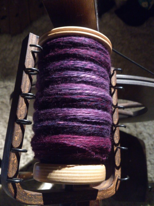 Yeah,  So we all know I can't just walk away!  200g crammed onto one bobbin! Only the tiniest amount left over which I am astonished by as I just stopped at some random point!  My foot and leg are SO tired now though!