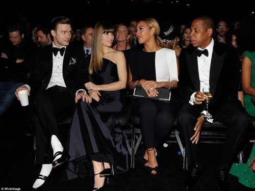 Justin Timberlake and Jessica Biel with Beyonce and Jayz at The Grammy Awards