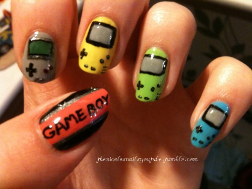 thenicolesnailsyoutube:  Retro Old Gameboy Nails