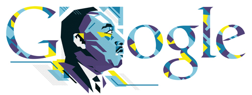 Google is honoring Dr. Martin Luther King, Jr. with a striking doodle this morning.