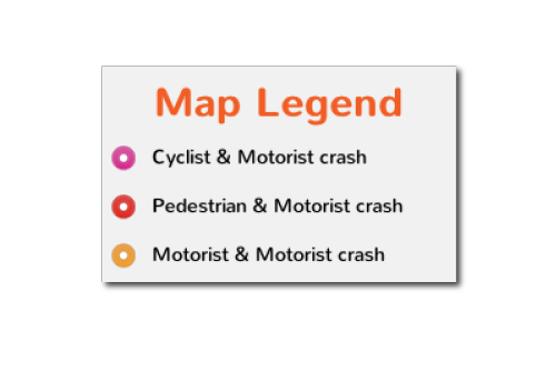 "CRASH StoriesTransportation Alternatives This map is a record of incidents in New York City where vehicle drivers have endangered pedestrians, bicyclists and other drivers. It was created for people like you to report about any crashes or ""near-misses"" that you witnessed or happened to you, whether just now, recently or in the past. http://www.crashstories.org/"
