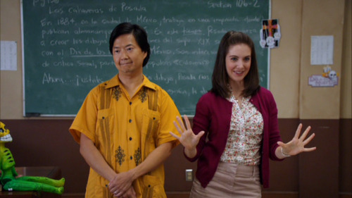 "Community 1x07: ""Introduction to Statistics"" Chang introduces Annie by telling the class that all faculty are required to give extra credit to a student who organizes academically related events outside of class. Annie has planned a Dia de los Muertos party which she calls ""Mexican Halloween."" She invites the class to the party and asks for RSVPs from the members of her study group. Shirley replies with a yes, citing her new lack of a wedding ring as her reason for going out. Pierce says he already replied, and tries to reconcile with his technology to find his answer. Britta speaks to Jeff in an aside and Jeff states that his answer regarding the party is no. Jeff asks Britta if she is certain that they will never be non-platonic, and she says they will not. Jeff claims that he is happy about this because he actually wishes to pursue one of his professors instead. Having lost control of his phone, Pierce interrupts every one as he exits the room by trying to cover the ramblings of his mother, who is revealing secrets about him. This is not a Halloween episode about fear, but a Dia de los Muertos episode about not being afraid of death and celebrating life as a result.  Prof. Slater wraps up Statistics 101 by describing the Bernoulli Distribution as ""the number of successes in a series of independent yes/no experiments."" A Bernoulli Trial is considered fair if the probability of success is 50%. So if you let heads be a success and tails be a failure —or a yes and a no respectively—, and toss the coin, if the probability that it lands on heads is the same as the probability that it lands on tails, the coin toss is fair. Annie conducted a Bernoulli trial earlier to see if people were coming to her party, and Jeff is about to conduct an experiment of his own to see if Prof. Slater will agree to go out with him. Jeff asks 4 times and receives all No answers. Prof. Slater tells him that she has a personal rule against dating students, revealing that Jeff's experiment is unfair. Britta and Shirley are walking down the hall as Jeff continues to ask Prof. Slater for a date. Shirley is offended on Britta's behalf for the way Jeff has replaced his advances on Britta with advances on Prof. Slater. Britta maintains that she does not care what Jeff does, however. Jeff's last tactic in the hallway is to convince Prof. Slater that he is older than her and is no longer a student. As Prof. Slater rejects him once more, Annie appears and accosts Jeff for an answer about attending her party. Jeff is evasive and will not give a yes or no response until Annie begins to cry. Through her tears, Annie says that Jeff is ""the cool guy"" and will make the party a success, and that the success or failure of the party is her second chance to make herself be ""hip, cool, laid back"" in the eyes of her peers.  Pierce and Troy are studying silently. As Pierce attempts to take a pill in secret, Abed appears behind him and draws attention to his actions. Abed compares his own grandfather to Pierce and warns about the dangers of taking medications. He gives the anecdote of his grandfather's memory failing due to age, and taking the wrong pills together, causing him to run down the street with no pants on which is ""a real party foul."" Pierce says that he does not need Abed's advise, and he is not a ""pantsless grandpa."" However, Abed's story will be mirrored in Pierce's actions before the night is through. Abed is behind Pierce in this scene. Here and for the rest of the episode Abed will symbolize the fear of the character behind whom he appears. Pierce is still afraid of being seen as old, and he will be fighting this image to seem hip, cool, and laid back.  Dressed as a skeleton, Annie welcomes her guests to her party. She removes her mask and greets Britta who is dressed as a squirrel. Britta talks about how she hates ""when women use Halloween as an excuse to dress like sluts."" Annie agrees dismissively as she takes off her cape to reveal that her skeleton costume is skin tight. Britta looks at Annie and then down at her own costume sadly. Annie introduces the cookie tombstones ""por tradicion"" and announces that ""la danza de los muertos"" will start in a few minutes. Frustrated, Chang yells that she does not have to keep translating everything. Jeff walks in without a costume and Britta teases him about not being out on a date with Prof. Slater. Jeff says that she is grading papers, and Chang yells from across the room to correct him, telling them that Prof. Slater is at the faculty party. We never saw Prof. Slater tell Jeff that she would be grading papers, and based on what she did say earlier, it is more likely that Jeff made up that story to save face in front of Britta. Abed, dressed as Batman, appears behind Jeff, personifying Jeff's fear that others will find out he was rejected by Prof. Slater. Pierce enters dressed as The Beastmaster from the 1982 film of the same name. No one gets his out of date reference, and he must explain himself to them. Shirley shows up behind Britta, offering drinks with a bad English accent. Jeff thanks her and calls her costume Urkel, but she corrects him saying that she is Harry Potter. Chang makes the same mistake. In fact, no one can see the guise Shirley is presenting for what it means to her.  In the bathroom, Pierce is once again attempting to sneak his medication. Star Burns interrupts him though and offers to trade his own illicit substances for what he thinks are comparable drugs. Pierce refers to his drugs by out of date street names he thinks are cool, but he declines a trade until Star Burns makes a disparaging remark about his coolness by saying that he is not quite the Beastmaster he claims to be. Pierce relents and offers to trade his medication to Star Burns for some ecstasy.   Chang leaves Annie's party and hands Jeff the clipboard of extra credit. Jeff asks Chang to bring him along to the faculty party so he can talk to Prof. Slater. Chang refuses until Jeff offers him a bribe. Jeff gives the extra credit sheet to someone else and leaves Annie's party. We were told earlier that Jeff would be the life of Annie's party, and, with the life absent, Annie's party starts to die. Abed is behind Annie and their frame tightens as she calls for Jeff and slowly realizes that he is gone. Her fear builds as Abed shares more of her frame. Pierce asks Star Burns what the drug he took was because he keeps grinding his teeth and wants to kiss everybody. Star Burns does not answer, but reveals his own symptoms from the drugs he took off Pierce. They are both artificially trying to change their stage of development and encountering problems. Star Burns is encountering problems taking drugs that will make him old before his time and Pierce is trying to be young again, finding his body cannot handle it. Britta consoles Annie, saying that Jeff will be right back. She pulls Shirley aside saying they have to go bring him back for Annie. Shirley agrees, but keeps making it a vendetta against Prof. Slater. Pierce seems to be doing better with his drugs now, massaging Annie's shoulders and saying that he loves her.   At the faculty party Jeff is dressed as a cowboy and approaches Prof. Slater, offering her a beer. Jeff continues his Bernoulli Trial of asking her for a date. He says that he hates everyone at the school except for her just as Britta interrupts them. Prof. Slater asks if Britta is a classmate of Jeff's, and Jeff rejects the term classmate as juvenile saying that ""what's great about community college is that a lot of the students are just as mature as the teachers."" Abed appears now in front of Jeff, saying that Annie is feeling unpopular and needs Jeff to return to the party. Troy entreats Jeff to come help take care of Pierce and his worsening trip. Jeff rejects them all and says that he is at a ""grown up Halloween party"" calling them all unseemly. Just as Britta asks how exactly they are being unseemly, the dean draws attention to Shirley ripping the antennae off of Prof. Slater's car. The dean still calls her Urkel, even though Shirley brandishes the antennae like a wand as she rebukes Prof. Slater for ""stealing Jeff from a good woman"". Pierce draws attention away from her as he enters, meowing and knocking things over. Jeff rebukes each member of the group in turn, finally telling Pierce that he is ""too old to be tripping."" Pierce scoffs at this information, but, as he sees his hands before himself, he does not recognize his own body. Calling himself a zombie, he runs out of the party and the rest of the group follows him. Jeff stays and tries to entice Prof. Slater once again, but she stops him with his own word ""unseemly.""  Britta is walking down the hall as she encounters Shirley attempting to fill Prof. Slater's office with water. When Britta asks why, Shirley states ""to teach that long necked, weave having bank teller she can't steal another woman's man!"" Shirley realizes that she has spoken the truth behind the facade no one could see through before and she tells Britta the whole story. The reason her wedding ring is gone, was not by her own choice, but because her husband wants a divorce and has moved on to someone else whom he wants wearing that ring. Shirley's reason for coming to the party was not a choice of removing the ring and moving on, but a cover up of the fear of being rejected by her husband. She states that she never wanted him back, but she just wanted to be the one to reject him. Britta listens mostly silent as Shirley talks out her own problem. Shirley concludes: ""It's like I was too proud to admit that I was hurt, so I had to pretend that you were."" Britta responds: ""I totally get that."" and says they should go check on Annie. When Shirley is out of the office, Britta shows that she holds some animosity towards Prof. Slater as she calls her pretentious and breaks the head off of one of the trophies. The root of Shirley's issue is also found in Britta, and just as Shirley was projecting onto Britta, Britta has been projecting onto Annie.  Back at Annie's party, Pierce is not a pantsless grandpa, but he is committing a party foul by wandering around horrified with a ""full on erection."" Pierce sees everyone as a frightening apparition, and he alternates between sobbing and primal roaring. In The Beastmaster, there are zombie like enemies called Death Guards. A Death Guard is just a regular person who has had a leech put into their brain. This leech eats anything it meets and as the movie states ""[this] extreme torture transforms the man into a wild beast."" Chevy has allowed the leech of old age equaling death or a wasted life to eat away at his brain, and now he is torturing himself, soon to be running around as even more of a mindless beast if he does not stop this leech of an idea. In his vision, Annie has become Catrina, the depiction of death who taunts the living.  Back at the grown up party, Chang taunts Jeff about striking out with Prof. Slater. Jeff says the campus has fed on his coolness and he no longer has any moves. Chang ridicules Jeff for treating everything like a game with ""moves"", and he offers Jeff  ""one move I bet you've never tried in your life."" Jeff walks to Prof. Slater with Chang's new move, and we discover that it is unabashed, childish begging for sex. Prof. Slater accepts, and offers to take Jeff with her only if he stays three steps behind her and never tells anybody. He promises to comply, and they leave together.  As Jeff and Prof. Slater walk past the library together, they see that everyone is gathered outside and inviting Pierce to come out and join them. Pierce refuses, saying that he is not ready to die. Troy beseeches Jeff to help and Jeff stops to consider. Jeff says goodnight to Prof. Slater, and she asks if he has been appointed guardian of the group. He says: ""they're my classmates."" Jeff has accepted the role he refused so vehemently earlier. Jeff's goal was to be a sexual hero to an ideal he held for himself, and also to be graded on his life thus far and be found as an adult. Instead, he goes back to being a student and accumulating successes in the experiment of his life. Had he gone with Prof. Slater, Jeff would have had to stay three steps behind her. He would be stuck developmentally. Jung discovered that many of his patients were stuck at some earlier phase in their childhood which then defined the type of adult that they were. Dia de los Muertos takes place over three nights, the gates to the afterlife open on Halloween night, the dead children come first, then the adults come two days later. Deceased adults are depicted as maintaining into the afterlife the same station they had at the time of their death. By going to die on this Halloween night, Jeff would leave his classmates (whom he deemed juvenile) behind, and return stuck in his role of hero to no one forever. He would be choosing to halt his learning in life, and forcibly end his Bernoulli Trial. Pierce feels that he has lived beyond the point of achieving anymore successes in his own life's Bernoulli Trial and that this same halting was chosen for him because of his age.  From within a large desk fort, Pierce says that he will crush himself to death with desks and tables. Like Star Burns, Jeff appeals to Pierce's costume identity and asks if that is a death befitting a Beastmaster. Pierce now admits that he never saw the film, but that he just wanted to be cool. Jeff removes his hat, seizing an opportunity to be a different kind of hero, and crawls into the desk fort in which Pierce is cowering. Pierce admits finally: ""I'm old Jeff."" Jeff rejoins: ""I don't know how you spent the first sixty years, but I know in the last two months you've probably doubled the national average for amount of life lived per lifetime."" Pierce accepts this, and Jeff adds ""if life is just a series of ridiculous attempts to be alive, you're a hero to everything that's ever lived."" Just as with Annie and Shirley earlier, everything Jeff is saying applies to both Jeff and Pierce. Jeff is saying that life is just a Bernoulli Trial and that though it is unfair (as everyone always says), you can make it unfair in your favor by gaining extra credit (like doubling the amount of life lived per lifetime). In the past two months that Jeff mentions Pierce has joined the study group, and this then is how you gain extra credit: by studying with other people, by taking on other people's life experiences through empathy or through actual shared experience. Jeff said that Pierce is a hero to everything that has ever lived, now making him The Beastmaster he is dressed as. The others who have not figured out their lives, who are becoming Death Guards via some nagging thought that is making them into mindless beasts can be helped by Pierce's experience, and he by theirs. The Beastmaster described his own powers in the film as empathy and shared experience saying: ""I see through their eyes. They know my thoughts; I know theirs."" By delivering this speech, Jeff is also taking his own advice and staying back as a student rather than an ""adult"", and empathizing with Pierce because their problems are similar. In fact, all of the main character's problems stem from a similar fear of rejection. Pierce accepts Jeff's assessment of his life triumphantly, and accidentally destroys the equilibrium of the desk fort, causing it to tremble and begin to fall on top of them. Abed appears from nowhere and grabs them both, pulling them out of the fort as it crumbles. They are situated such that Abed is behind both of them as they are dragged from the wreckage. Abed is now fear as a motivator. They are afraid of death or afraid of a wasted life, and that is good because it is motivating them to move forward and not to sit passively waiting for death to come tally their successes and failures. Jeff asks if Abed is staying for the party, and Abed says that if he stays ""there can be no party."" The party thus far has been a failure because it is filled with fear. Dia de los Muertos is not about fear, but about embracing death as an equalizer and celebrating the lives of the deceased. This is why Chang wanted Annie to stop translating everything earlier, because at that time the party was a Halloween party driven by fear. Once Abed removes himself from the library and the party, we see everyone enjoying themselves and enjoying the company of each other. They are now all gaining extra credit by sharing and incorporating the lives of others into their own, no longer fearing death but reveling in life, adding to the successes column of their Bernoulli Trials.   we are for each other: then laugh, leaning back in my arms for life's not a paragraph And death i think is no parenthesis - e. e. cummings    Episode 1 Analysis Episode 2 Analysis Episode 3 Analysis Episode 4 Analysis Episode 5 Analysis Episode 6 Analysis Episode 7 Analysis"