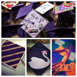 Enhanced graduation caps, LSU spring 2013 graduation