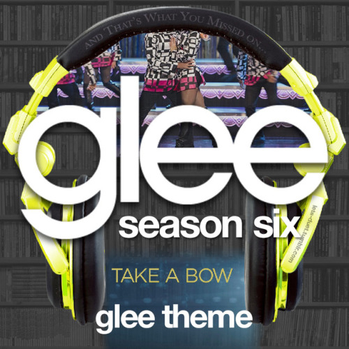 A Glee album cover (with Season 6 headphones) for the Glee theme song in my Bookshelf Backdrop Style.