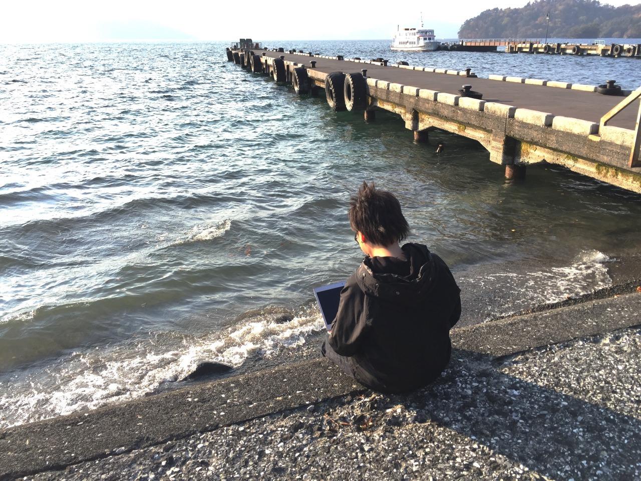 十和田湖畔でノマドワーク
