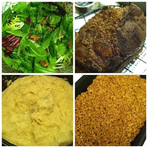 Obligatory #foodie post! Salad, beef rib roast, mashed potatoes, and pumpkin spice Rice Krispies treats, all homemade! #Christmasfeast #fattie