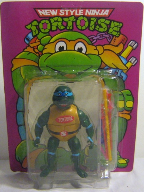 "thefrogman:  ""Bob, I think we might have a legal issue on this new toy line of ours. They seem awfully similar to the Ninja Turtles."" ""Sir, I can assure you that they are quite different. First of all, they are tortoises. Ask any herpetologist… completely different animal. Turtles are amphibious and enjoy a damp environment. Which is why they live in the sewers. Whereas our tortoises like it dry, so they live in an abandoned dehumidifier factory."" ""Interesting. I'm still not sure there is enough to differentiate them."" ""Okay, check this out, yo. The turtles are teenagers, right? But the Ninja Tortoises are clearly in their late 20s. The turtles like pizza, the tortoises prefer tacos. The turtles learned their ninjitsu from the ancient teachings of their Master Splinter. The tortoises learned their ninja skills from some Tae-Bo tapes they found in a dumpster."" ""Alright, I'm pretty convinced. Just in case, put a giant tortoise sticker on them."""