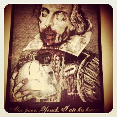 shakespearewilliams:  Rad poster at the Ferrie house #shakespeare #zombie #hamlet  I have this shirt!