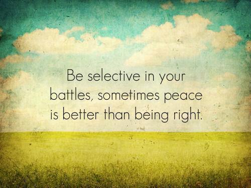 Be selective in your battles,sometimes peaceis better than being right.