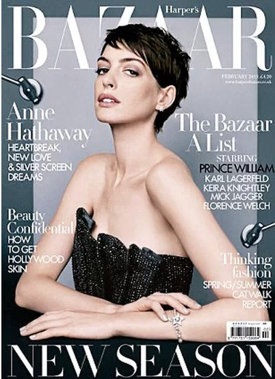Don't forget to check out the latest issue of Harper's Bazaar with Anne Hathaway looking absolutely stunning on the cover! Anne sounds to be a little down competing against the new 22 year old actresses as she turns 30, but she says she has always had to fight for her roles. News to us because we think she is awesome. Click the pic for more!