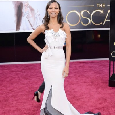 SO gorgeous is @zoesaldana on the #oscars2013 #redcarpet wearing #chanel #nails by @karengnails @nailinghwood