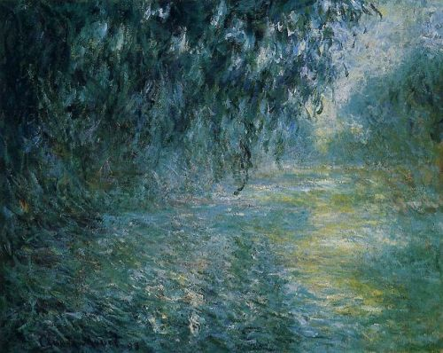 dappledwithshadow:  9 versions of Morning on the Seine, by Claude Oscar Monet c. 1897