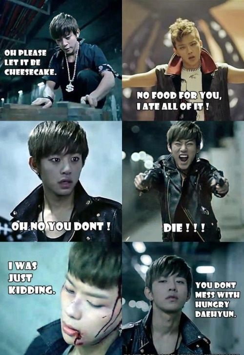 "thehottestsmile:  ""You don't mess with hungry Daehyun…"""