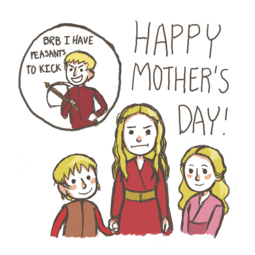 knightofbunnies:  Well Cersei, you raised two very sweet kids. Unfortunately, your other child is Satan spawn. Two out of three is pretty good in Westeros, though! (I really do love them though— sans Joff)