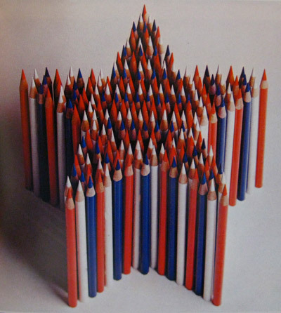 Bicentennial colored pencils star, 1976 (we assume) by Seldon Dix (via SO MUCH PILEUP: Things to do with Pens and Pencils)