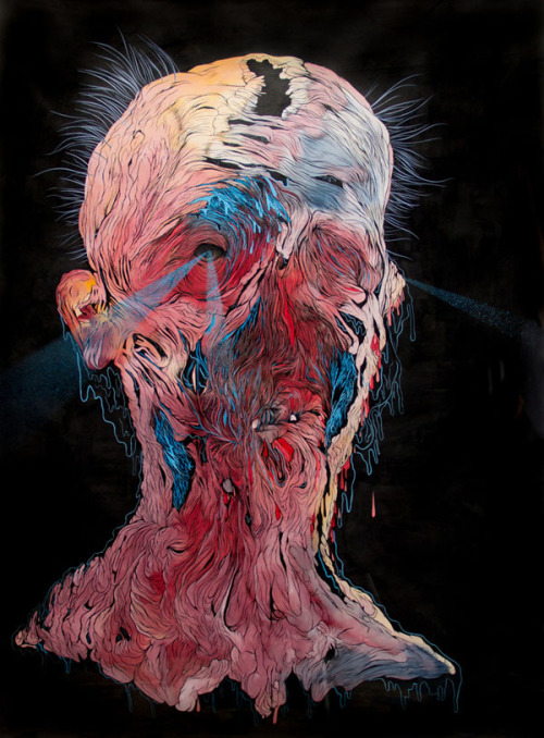 Creepy Portraits Bizarre paintings by Scott Greenwalt, an artist born in St. Louis in 1974, nowadays living and working in Oakland, CA. The artworks remind the viewer of the transience of our existence. Scott Greenwalt usually works with ink, gouache and acrylic paint on paper or canvas. More artworks by Scott Greenwalt on WE AND THE COLORWATC//Facebook//Twitter//Google+//Pinterest