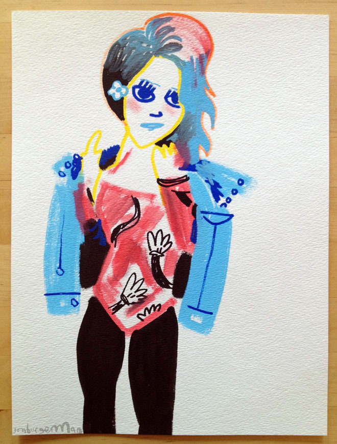drawingsofgirlson:  Girl wearing a Hey Mickey bodysuit by Lazy Oaf.