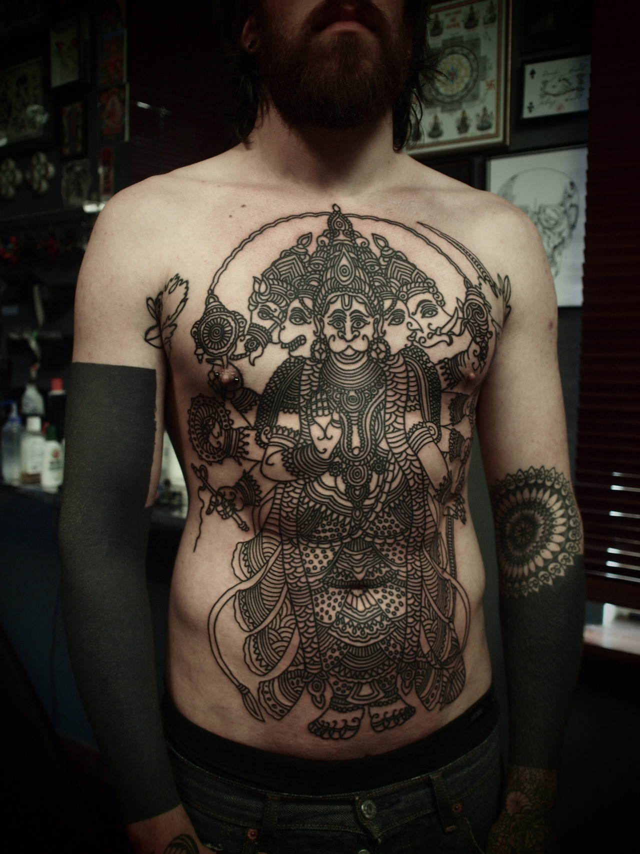 woodboyreborn:  guyletatooer:  Five headed Hanuman . New session on a body suit project . On Damien at Home .  holy fuck.