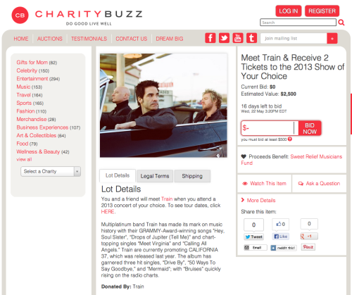Want to meet us and help out a great charity? Head over to Charity Buzz to bid on 2 meet & greet tickets to one of our shows!