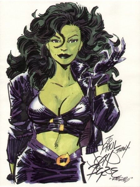 [ 80's She-Hulk in a marker drawing, wearing a leather outfit of a jacket, tube top, and skirt. she brushes her hair back and smirks. ]