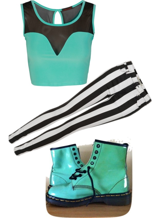 up! por blauerosen con mint green shoesGreen top, $18 / Dr. Martens mint green shoes