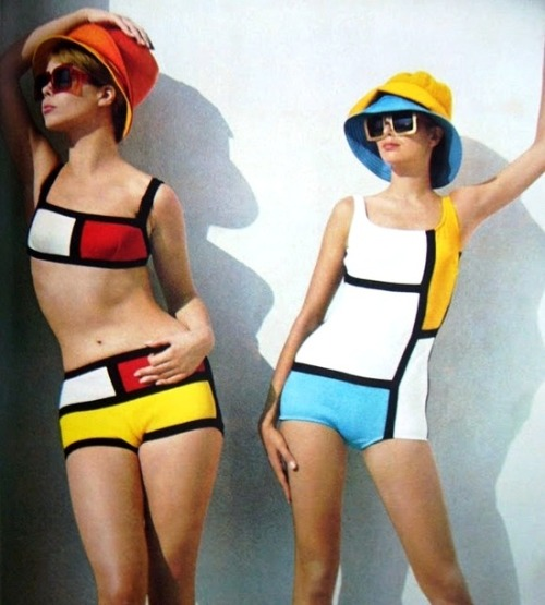 theswinginsixties:  Piet Mondrian inspired beach fashions, Burda Moden, Summer 1966.