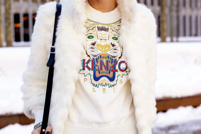 "The Kenzo Sweatshirt… Still Here Last Fashion Week, we mentioned the coveted item of the moment was the emerald green Kenzo sweatshirt. This past New York Fashion Week, thanks to the folks at what-do-i-wear, we couldn't help fall inlove with the designers same sweater in pure white. We call it ""the blizzard"" Kenzo.  (Photo: theblondesalad. Text by Jauretsi)"