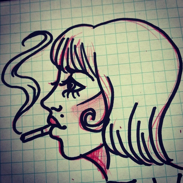 Smoke 'em if you got 'em #sketch #doodle #art #ladyhead #iliketurtles
