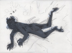 Falling Devil (sketch) / graphite and gouache