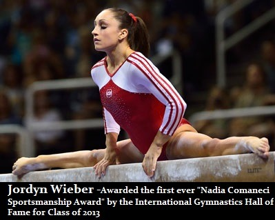 "iloveteamrussiawag:  Jordyn Wieber Wins Sportsmanship AwardOlympic Team gold medalist Jordyn Wieber will be on hand in Oklahoma this week when she's awarded the first ever Nadia Comaneci Sportsmanship Award by the International Gymnastics Hall of Fame.  The award, named after the famous Romanian gold medalist best known for her prefect 10 on the bars at the 1976 Olympic Games, is given to an active or retired gymnast ""who has demonstrated great sportsmanship or fair play."" Comaneci said she was happy to present the inaugural award to Jordyn because, as the reigning world champion, ""she showed great sportsmanship by overcoming her personal disappointment to help lead the U.S. Women's Team to the gold medal,"" after failing to make the all-around finals in London. Gymnastics legends Gina Gogean of Romania, Albert Azaryan of Armenia, and Yuri Korolev and Lyubov Burda of Russia will also be inducted as part of the Hall's 2013 class.`as reported on usagym.org"