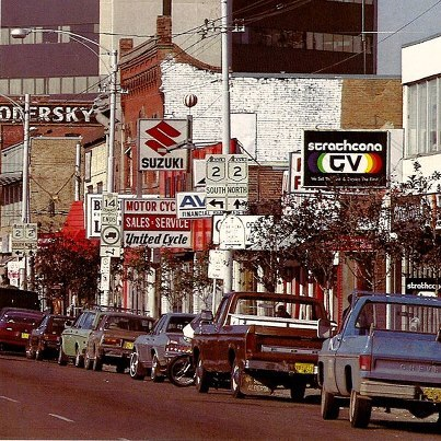 """Whyte Ave in the late 1970's or early 1980's before it was the cool hip place in Edmonton to go,"" from Vintage Edmonton."