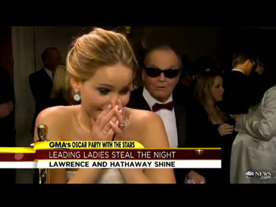 WATCH JACK NICHOLSON FLIRTING WITH JENNIFER LAWRENCEby Blaire Bercy http://bit.ly/WmJEke