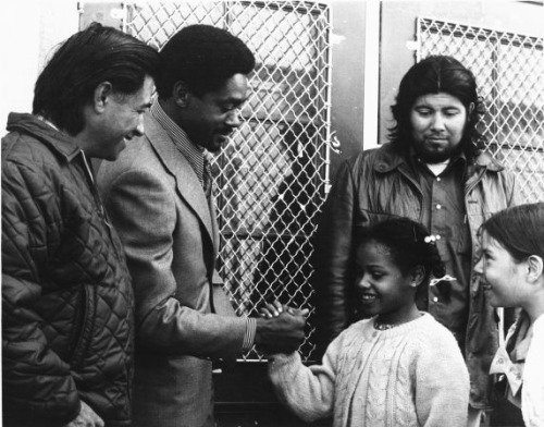specialnights:  Cesar Chavez and Bobby Seale meet students from Malcolm X Elementary, 1972.