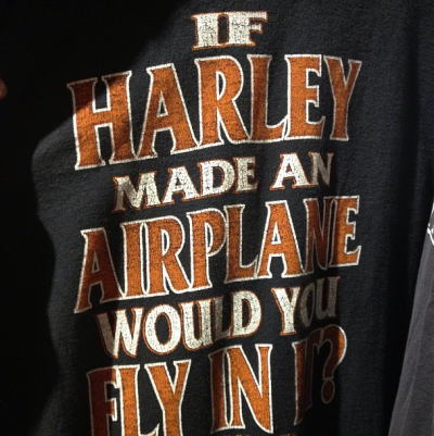 "I'm not anti Harley, but holy shit this made me laugh. ""If Harley made airplane, would you fly in it?"" (Yoinked from Motorcycho Magazine instagram.)"