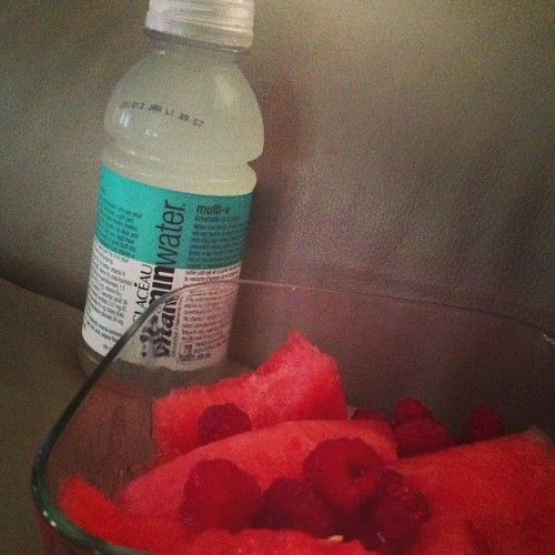Fresh fruit & vitamin water! #watermelon #raspberries #lemonadevitaminwater #summertime #refreshing