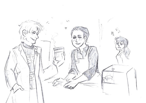 asparklethatisblue:    stormsbreadth asked you: An Academy Era coffee shop AU would be awesome. Preferably with Ushas making some very… 'special' concoctions in the back of the shop.   >:3 oh yes, silly dorks in every universe!