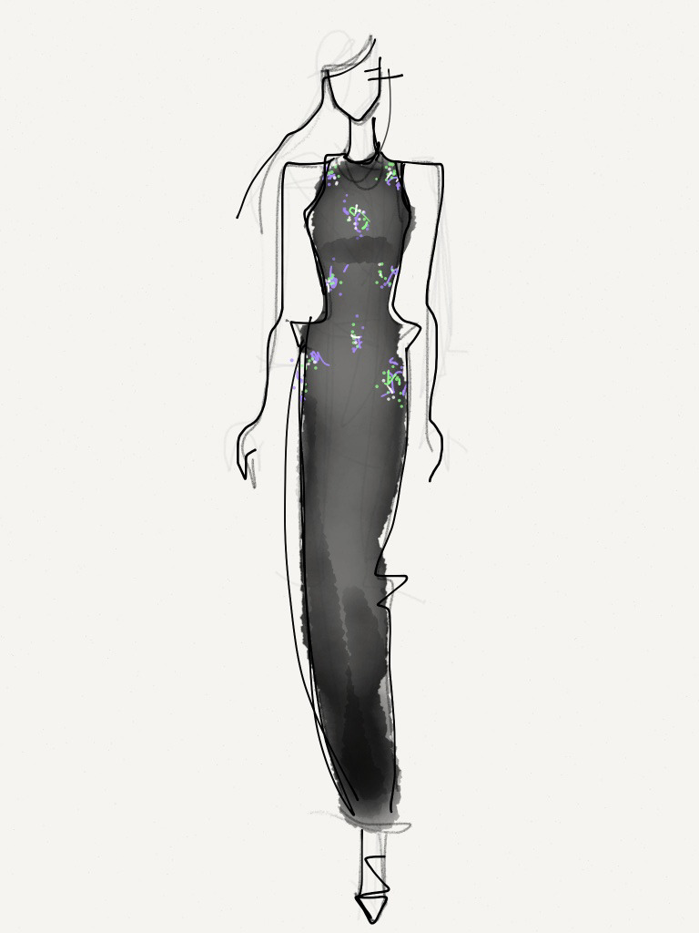 Tanya Taylor - Fall 2013 / Illustration by Danielle Meder Using swipes instead of brush strokes, Canadian illustrator Danielle Meder sketches her favourite looks from the runway rooms at Toronto Fashion Week