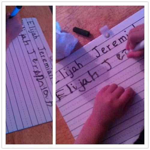#Elijah #writing his #name :)