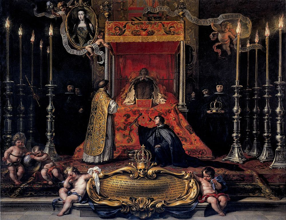 Marie Louise of Orléans, Queen of Spain, lying in state in the Royal Alcazar of Madrid.Sebastián Muñoz, 1689.