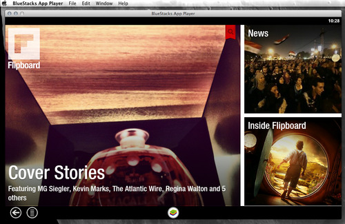 Flipboard is an invaluable tool in my curation, but it's a strange thing to be limited to my iPhone, and sending all sorts of interesting pointers to Pocket. I learned today that there is an android emulator called BlueStacks App Player for Mac OS X and Windows, and the android Flipboard app runs on it. Aside from having to switch to 'natural' scrolling (backwards from what I am used to), it just works! I downloaded Flipboard, logged in, and it all works. So now I can do Flipboard on my Mac. Sort of.