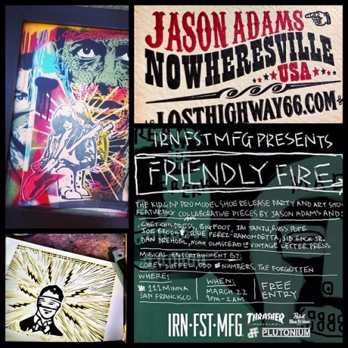 Tonight!! Jason Adams 'Friendly Fire' Collab Art Show & Shoe Release Party @111minnagallery in SF —> #PlutoniumPaint #SprayPaint #MadeInTheUSA #Art @kidadams @russpope @gordyspd @xlittlelostindianx @irn_fst_mfg @thrashermag #FriendlyFire #VintageLetterPress #LostHighway66 (#Regram from @noahrandumb) - @plutoniumpaint- #webstagram