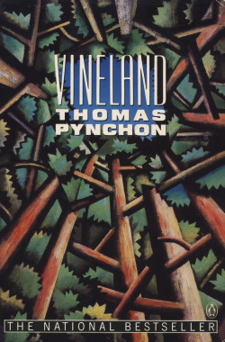 paperback art for Vineland by Thomas Pynchon. Melissa Jacoby for Penguin, 1991. (I absolutely love this artwork, perfect for this novel. I remain mystified why Penguin went back to the photography adorning the original hardback for their Classic edition.)