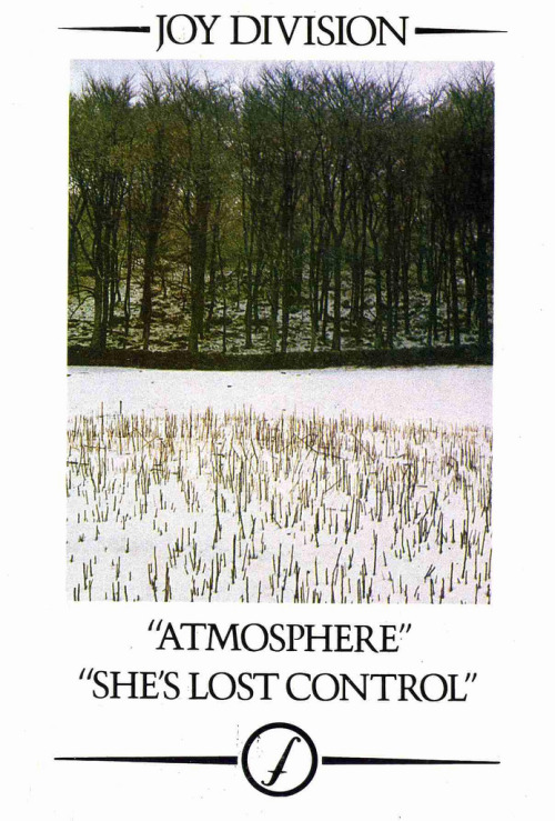 "Promotional postcard for the ""Atmosphere/She's Lost Control"" single released in September, 1980."