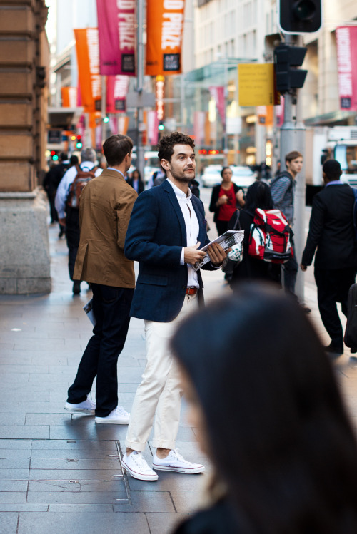 meninthistown:  Mr. Porter paper boys spotted in Martin Place this morning.