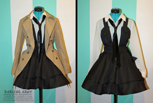 Castiel -Supernatural-  Cosplay Pinafore By Darling Army Introducing a simple back jumper pinafore that can be used for a number of different cosplays. I'm particularly fond of using it for Castiel, though I didn't quite have a blue tie, but you get the idea! Oh god…just thought of him wearing this for Dean….LOL I only accept 20 pinafore orders at a time. Keep checking my Facebook for updates on when I'll be accpeting orders again  =3  Gotta be quick. Spaces fill up in about six hours. DARLING ARMY FACEBOOK