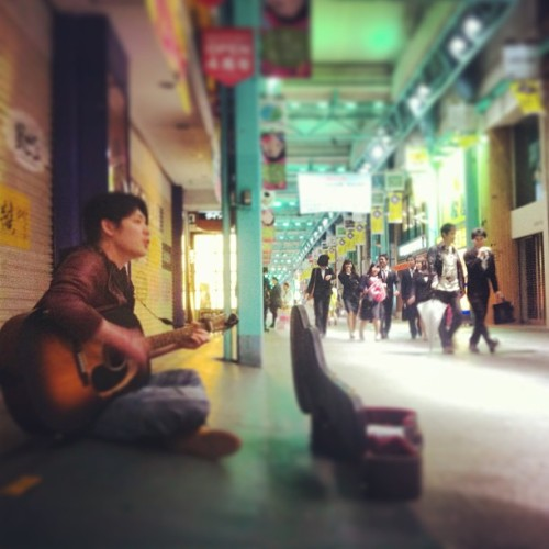 kid playing #guitar out in #kichijoji, near #tokyo #japan… #peoplewatching #street #music