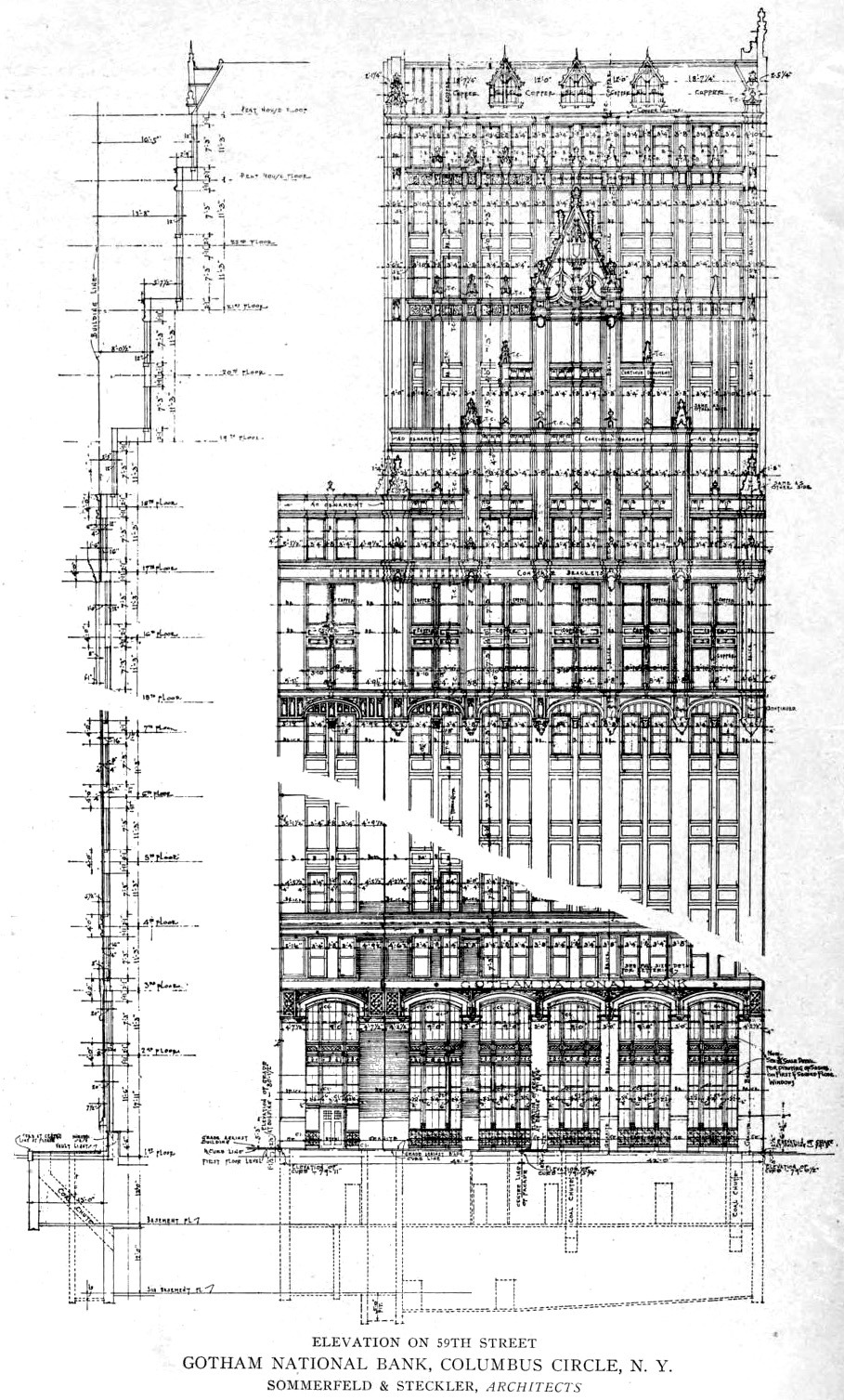 Elevation of the Gotham National Bank on Columbus Circle, New York City