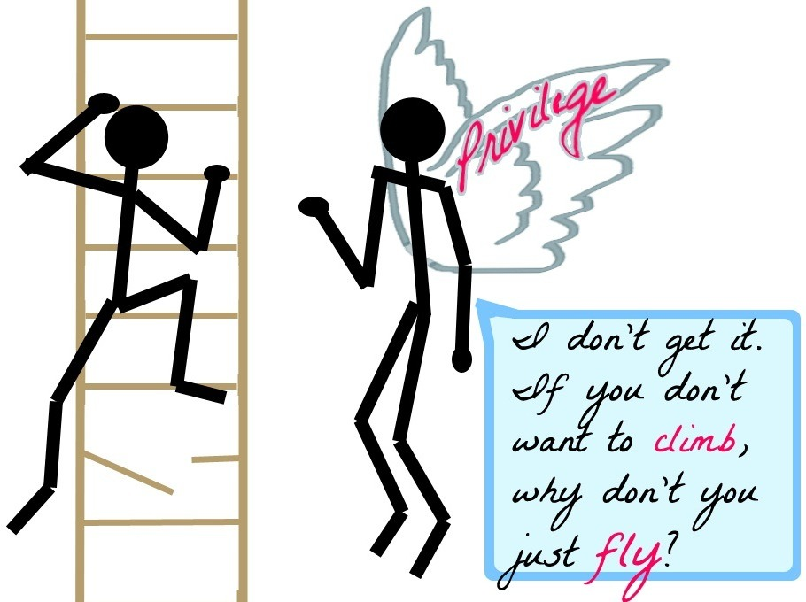 "Text: ""I don't get it. If you don't want to climb, why don't just you fly?"""