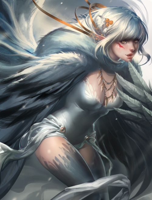 sakimichan:  painting of playful snow harpy. Painting in ps5Happy holidays : )